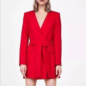 Zara red belted blazer dress size Small